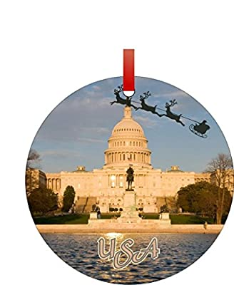 Santa and Sleigh Riding Over the U.S. Capitol-Washington D.C.-USA-Round Aluminum Christmas Ornament with a Red Satin Ribbon/Holiday Hanging Tree Ornament/Double-Sided Decoration/Great Unisex Holiday Gift!
