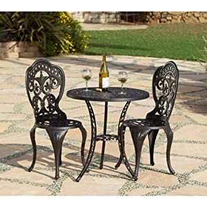 Fiesta Outdoor Patio 3 Pc Cast Aluminum Bistro Set - Table & 2 Chairs