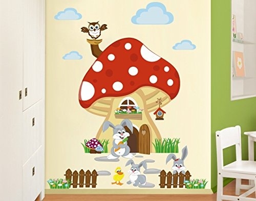 wandtattoo babyzimmer no yk32 hasenfamilie wohnt im fliegenpilz wandtattoos sticker. Black Bedroom Furniture Sets. Home Design Ideas