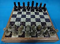 "Vintage Complete Chess Set Hand Carved Stone Pieces 14""inch"