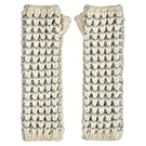 Tuck Stitch Ivory and Grey Knitted Armwarmers
