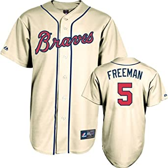 Majestic Mens Atlanta Braves Replica Freddie Freeman Alternate Ivory Jersey by Majestic