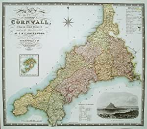 Rare Map of Cornwall by C & J Greenwood cms 32 - cms 37