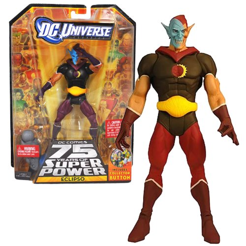 """Mattel Year 2009 DC Universe """"DC Comics 75 Years of Super Power"""" Wave 12 Classics Series 6 Inch Tall Action Figure #1 - ECLIPSO with Darkseid's Left Leg Plus Bonus Collector Pin (R5779)"""