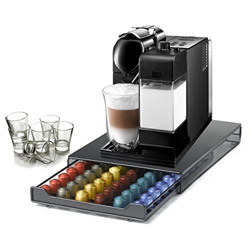 DeLonghi Lattissima Plus Capsule Black Espresso and Cappuccino Machine with 60 Capsule Storage Drawer and Free Set of 6 Italian Espresso Shot Glasses