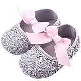 etrack-online reci�n nacido ni�a lazo suave soled zapatos de Prewalker Cuna gris gris Talla:6-12 meses