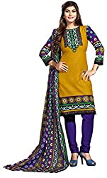 Aarti Apparels Women's Cotton Unstitched Dress Material _MAHARANI-02_Yellow and Blue