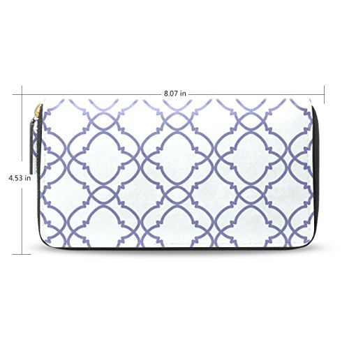 Womens Moroccan Pattern Leather Long Wallet & Purse Case Card Holder