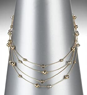 Gold Plated Multi Strand Diamanté Collar Necklace