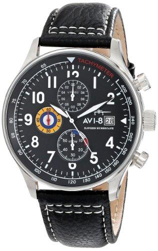 AVI-8 Men's 42mm Black Calfskin Band Steel Case Quartz Analog Watch AV-4011-02