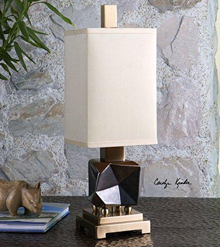 Modern Bronze Table Lamp Faceted Fractal | Mini Metallic