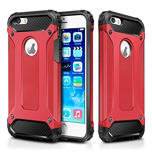 iPhone 5S Case,iPhone 5 Case,Wollony Rugged Hybrid Dual Layer Armor Protective Back Case Shockproof Cover for iPhone 5/5S - Heavy Duty - Slim Hard Shell Protection - Impact Resistant Bumper (Red) (Slim Iphone 5 Bumper compare prices)