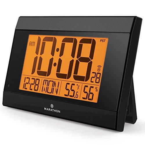 Marathon CL030052BK Auto-Night Light Digital Wall Clock with Batteries Included, Black