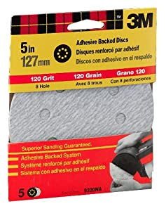 3M 9320NA 5-Inch 8 Hole Dust Free Adhesive Backed Discs, Fine 120 Grit, 5 count pack