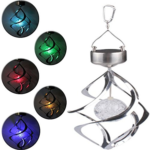 AGPtek® Romantic Solar Power Wind Chime Moving Rotating LED Light Outdoor Garden Balcony Courtyard Hanging Lamp Lawn Light - Colorful Color Changing
