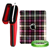 518IdsCBGBL. SL160  Apple iPad Ruby Red Snug Fit Canteen Style Hard Cube Case with Tilt Stand for Apple Ipad Tablet  + Stylishly Designed Pink Plaid iPad Hard Snap On Case + VG Live * Laugh * Love Silicone Wrist band!!!