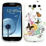 "Slabo Silikon Schutzh�lle H�lle Case TPU f�r Samsung Galaxy S3 I9300 - ""Blumen Schmetterling Herzen | Flower Butterfly Heart"" - PINK WHITE|ROSA WEI�von ""Slabo"""
