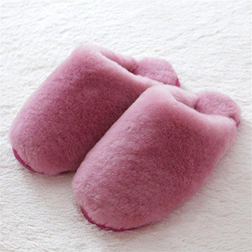 TDXIE Pelliccia di pecora australiana pantofole peluche pantofole a baotou, lana per l'autunno/inverno 35 36 37 38 39 40 41 42 43 44 , j , 44