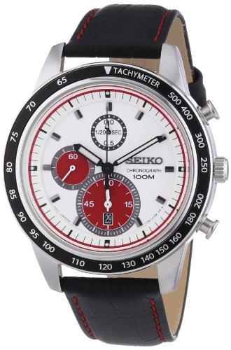 Seiko White Dial Chronograph Black Leather Mens Watch Sndd91