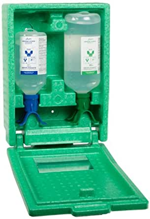 Plum 248808503 Duo Bottle Covered Eye Wash Station With 500mL pH Neutralizing Solution And 1000mL Sterile Saline, Wall-Mountable