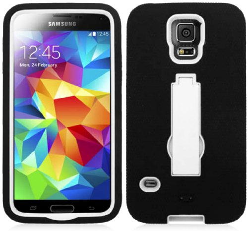 Mylife (Tm) Matte Midnight Black And Bright White - Shock Suit Survivor Series (Built In Kickstand + Easy Grip Silicone) 3 Piece + 2 Layer Case For New Galaxy S5 (5G) Smartphone By Samsung (External Flex Silicone Bumper Gel + Internal 2 Piece Rubberized S