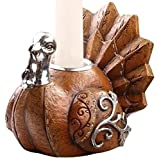 "3"" Harvest Earthy Thanksgiving Turkey Taper Candle Holder"