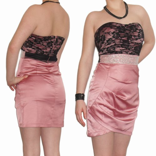 Sexy Womens Ladies Strapless With Flash Beads Dress 8-10 Small Pink Cocktail Pencil Evening Party Dress Clubbing Prom *NEW*