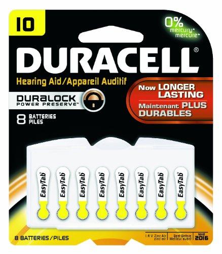 Duracell Da10B8Zm10 Easy Tab Hearing Aid Zinc Air Battery Pack, 10 Size, 1.4V, 95 Mah Capacity (Case Of 6 Cards, 8 Unit Per Card)