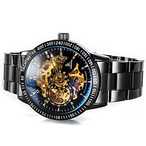 Alienwork IK mechanische Automatik Armbanduhr Skelett schwarz 98226-12 3