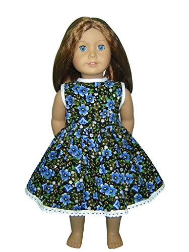 "Glamerup Collection: Kaiya - 18"" Doll Dress, Blue Green Flowers, Lace"