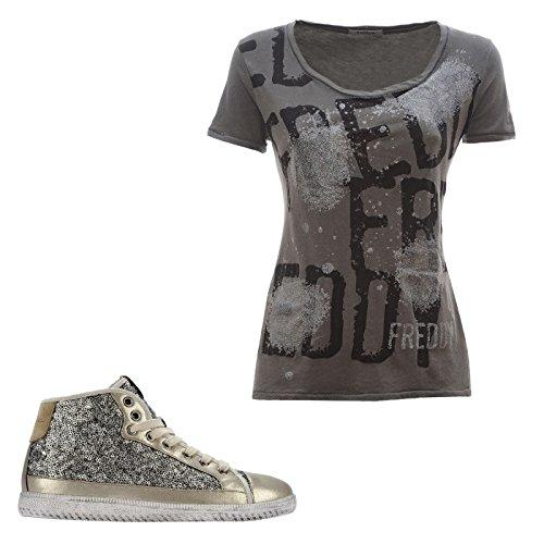 Freddy Sneaker con Rialzo interno di 3cm + T-Shirt in Omaggio (S5WFST2GT) (41, Grigio)