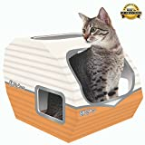 COOL CAT TOYS FOR INDOOR & OUTDOOR CATS BY KITTY CAMPER - Stylish Cardboard Houses Designed To Cheer Up Any Grumpy Feline - Used as a Scratcher, Toy Or Bed For All Day Interactive Fun!BONUS EBOOK