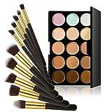 Demiawaking 15 Farben Kosmetik Make-up Concealer Palette+ 10Pcs Pinsel Set