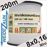 Weidezaun Band 200m, 40mm, 8x0,16 Niro, weiß 1*