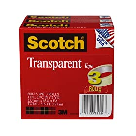 Scotch® Transparent Tape  1 in x 2592 in 3 rolls per pack