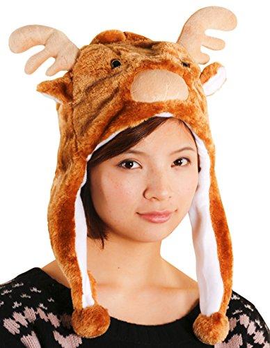スポッとかぶれる あったか もこもこ 動物 帽子 かぶりもの(トナカイ) a411b