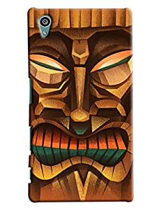 Blue Throat Mask Made Of Wood Printed Designer Back Cover For Sony Xperia Z5