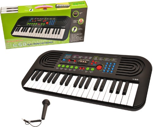Your Music Center 37 Key Electronic Keyboard with Microphone and AC Adapter &#8211; Black