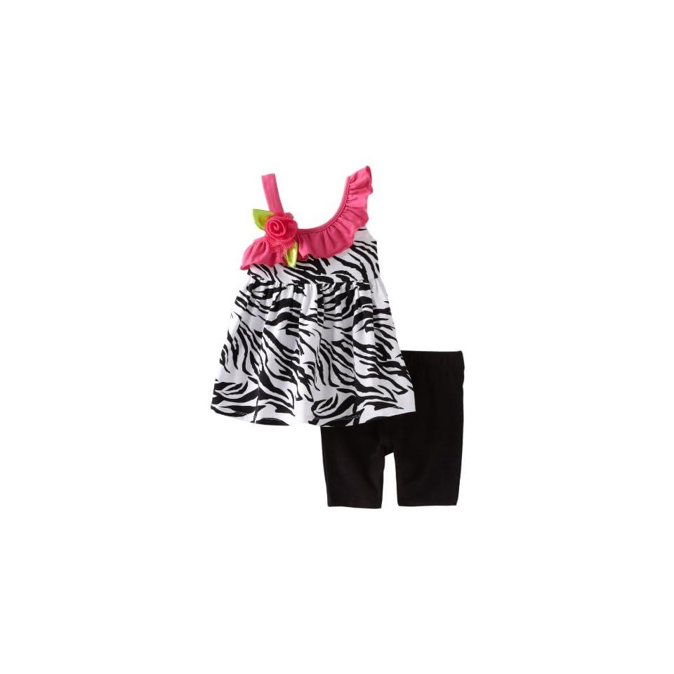 Sweet Heart Rose Baby girls Infant Zebra Ruffle Bike Short Set, Black/White/Pink, 12 Months