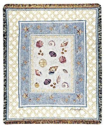 At The Seashore Mid-Size Deluxe Tapestry Throw Blanket front-1033042