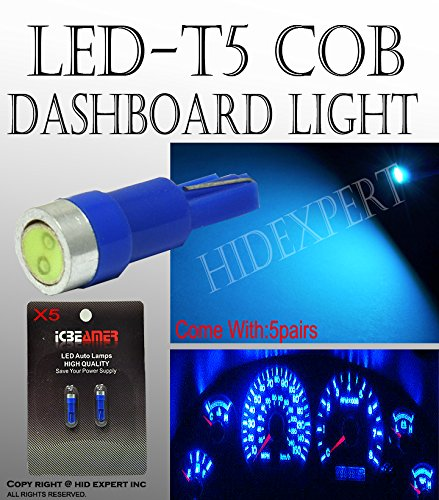 JDM 10 pcs T5 COB Blue WEDGE 5050 1 CAR DASHBOARD DASH LIGHT BULB Really Bright (2000 Ford Mustang Dash compare prices)