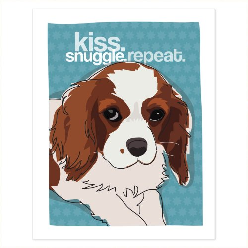 Cavalier King Charles Spaniel Art - Kiss Snuggle Repeat - Pop Doggie Dog Art Poster Sign Prints with Funny Sayings - 5 by 7 inches