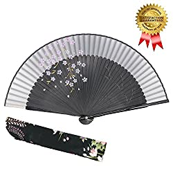 "OMyTea® ""Sakura-Long-Legs"" 8.27""(21cm) Folding Hand Held Fan - With a Fabric Sleeve for Protection for Gifts - Chinese / Japanese Vintage Retro Style from OMyTea"