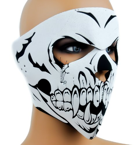 White Skeleton Motorcycle Full Face Mask Neoprene Cover