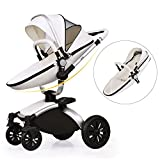 Aiqi-3-in-1-Baby-Stroller-Travel-System-360-dergrees-Angle-With-Bassinet-Brown
