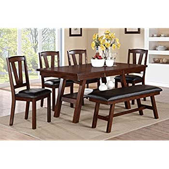 Poundex F2271 & F1331 & F1332 Dark Walnut Table & Chairs/Bench Dining Set