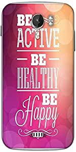 Snoogg typographic poster design be active be healthy be happy Designer Protective Back Case Cover For Micromax A116