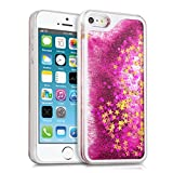 kwmobile Liquid Glitter Case for Apple iPhone SE / 5 / 5S - Hard Case Snowglobe effect Protective Cover in dark pink