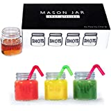 Hayley Cherie - Mason Jar 2oz Shot Glasses with Lids (Set of 8) - Perfect for Parties, Weddings, Gifts & Crafts