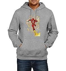 Fanideaz Men's Cotton Catch Me if you can Flash Hoodies For Men (Premium Sweatshirt)_Grey Melange_M